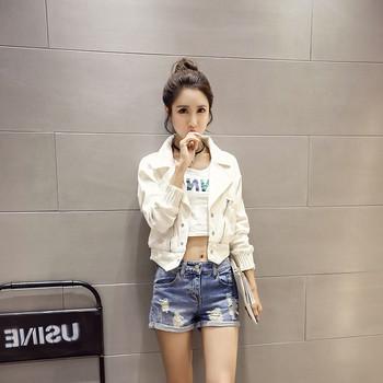 Дамско дънково яке в бял цвят - къс модел