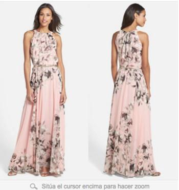 Γυναικείο μακρύ φόρεμα σε floral σχέδια σε ροζ χρώμα