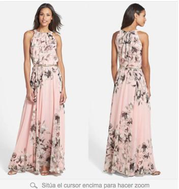 348d3de8ea7 Дамска дълга рокля с флорални мотиви в розов цвят - Badu.bg - Светът в ръцете  ти