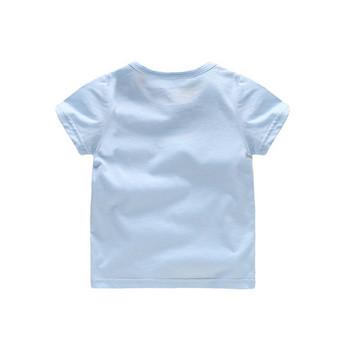 Детска тениска за момчета с къс ръкав и надпис в три цвята