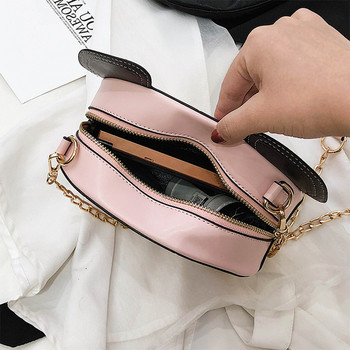 Актуална дамска чанта с 3D- елемент и метална дръжка в два  цвята