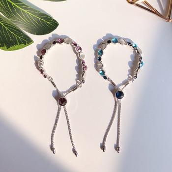 Дамска стилна гривна с декоративни камъни в два цвята