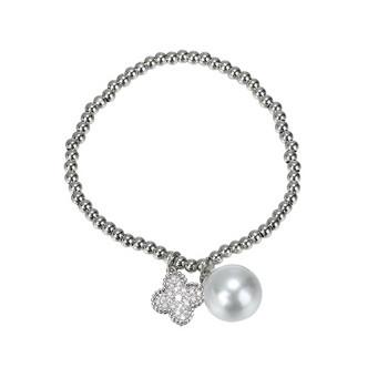 Стилна дамска гривна с декоративни камъни и перла