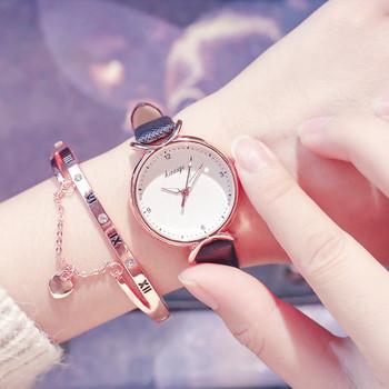 Нов модел дамски часовник с каишка от еко кожа в няколко цвята