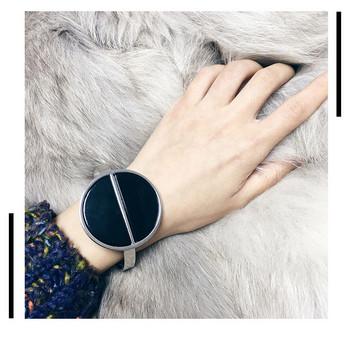 Дамска модерна гривна с кръгла форма в сребрист цвят
