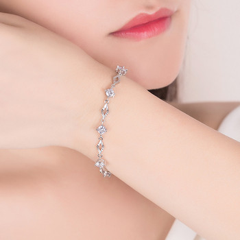 Дамска стилна гривна с камъни в сребрист цвят