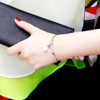 Дамска стилна гривна с висулки в два цвята