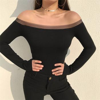 Стилно дамско боди с дълъг ръкав в черен цвят