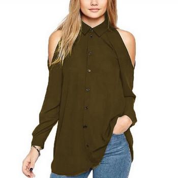 Модерна дамска риза с отворени рамене в различни цветове