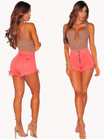 Къси дамски панталони с висока талия в черен, бял и розов цвят