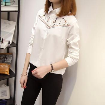Стилна дамска риза с бродерия и дълъг ръкав в бял цвят