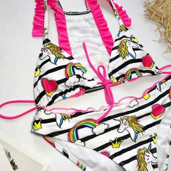 Модерен дамски цветен  бански костюм от две части