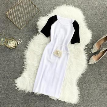 Ежедневна дамска рокля с О-образно деколте и къс ръкав в три цвята
