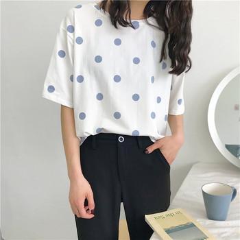 Ежедневна дамска блуза на точки в два цвята с къс ръкав