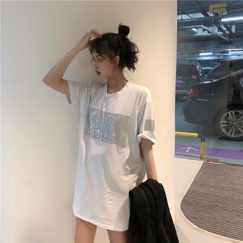 Модерна дамска блуза с къс ръкав в бял и черен цвят с пайети