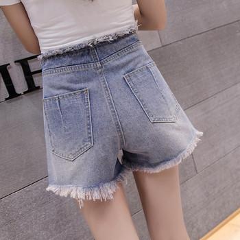Дамски къси панталони с висока талия и връзки в син цвят