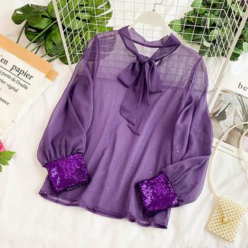 Прозрачна дамска риза с панделка и пайети в няколко цвята