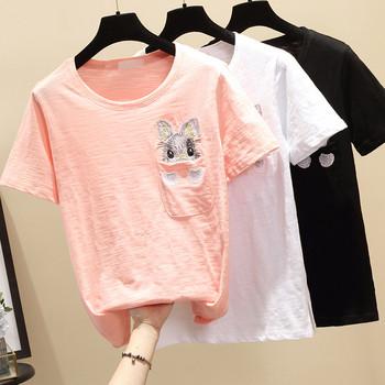 Ежедневна дамска тениска с бродерия в няколко цвята