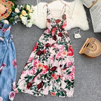 Дълга дамска рокля с флорален десен и тънки презрамки в няколко цвята