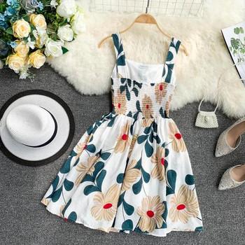 Ежедневна дамска рокля разкроен модел с флорален десен в няколко цвята