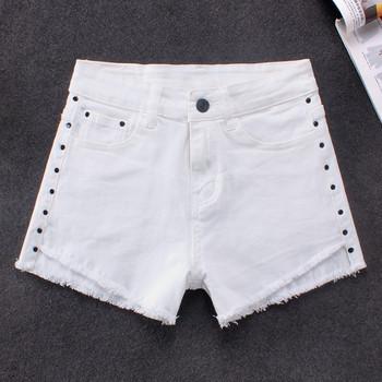 Дамски къси панталони в бял цвят с висока талия и джобове