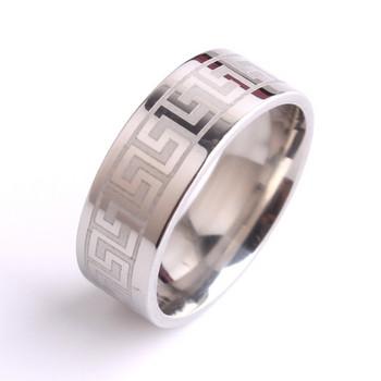 Мъжки гравиран  пръстен в сребрист цвят