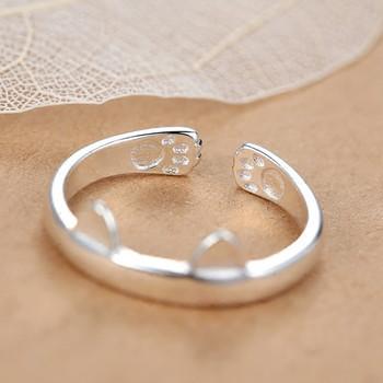 Дамски пръстен с 3D елемент в сребрист цвят