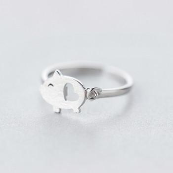 Дамски модерен пръстен с 3D елемент прасе