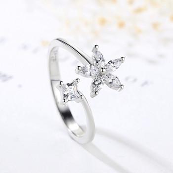 Елегантен дамски пръстен с камъни в сребрист цвят