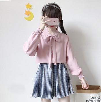 Стилна дамска риза с панделка в бял и розов цвят
