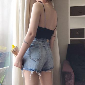 Къси дамски пантлони с висока талия и джобове
