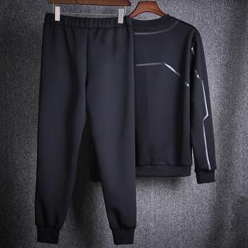 Спортно-ежедневен мъжки комплект от две части в черен и сив цвят