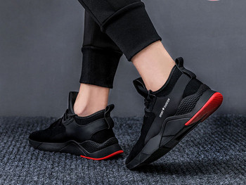 Αθλητικά πάνινα παπούτσια ανδρών με παχιά σόλες σε μαύρο χρώμα - ακολουθήστε το μοντέλο