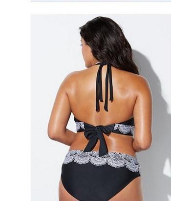 Модерен бански костюм от две части в черен цвят в размер до 5XL