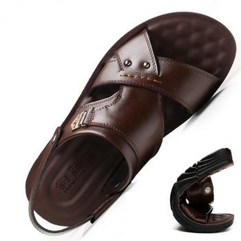 Ежедневни мъжки сандали в кафяв и черен цвят