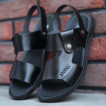 Модерни мъжки сандали в черен и кафяв цвят