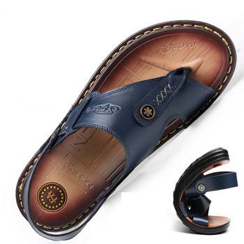 Модерни мъжки сандали в син и черен цвят