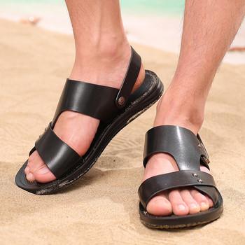 Модерни мъжки сандали в кафяв и черен цвят