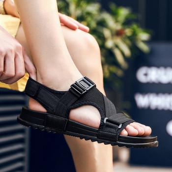 Ежедневни мъжки сандали в сив и черен цвят