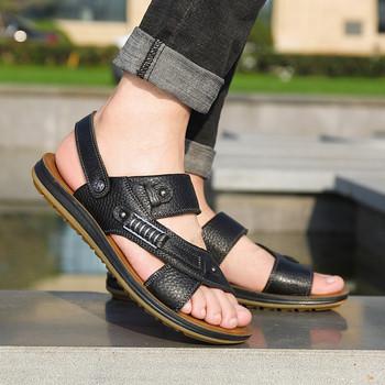 Ежедневни мъжки сандали в черен ,кафяв и оранжев цвят