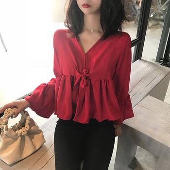 Стилна дамска риза в два цвята с широки ръкави