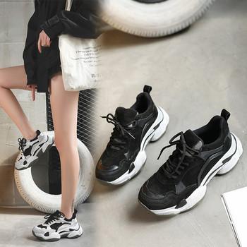 b90b7ce4b3d Τρέχοντα κυρίες πάνινα παπούτσια με χοντρά πέλματα σε δύο χρώματα