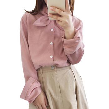 Модерна дамска риза в три цвята с панделка