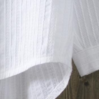 Модерна дамска бяла риза - широк модел