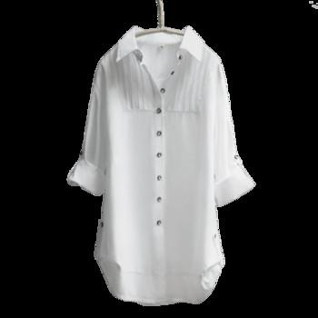 Μοντέρνο μακρύ πουκάμισο κυρίες σε λευκό χρώμα - ευρύ μοτίβο