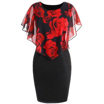 Дамска рокля с флорални мотиви в различни цветове включително и макси размери