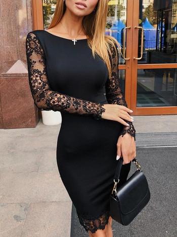 Елегантна дамска рокля в черен цвят с дантелени ръкави
