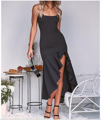 Стилна дамска рокля асиметричен модел в четири цвята