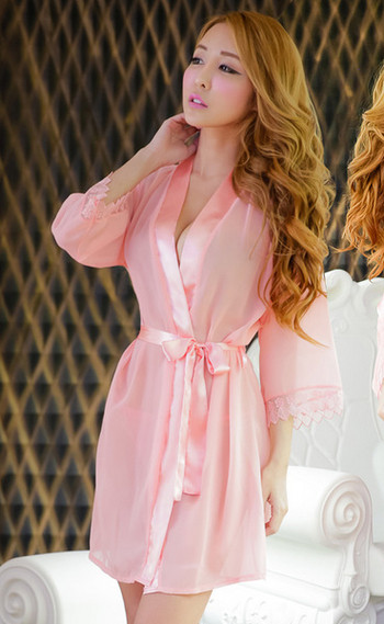 Актуален дамски халат в розов и бял цвят