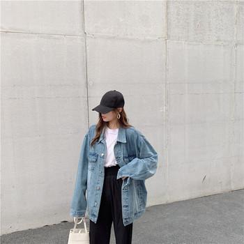 Γυναικείο  μοντέρνο μπουφάν τζιν - ευρύ μοτίβο σε δύο χρώματα